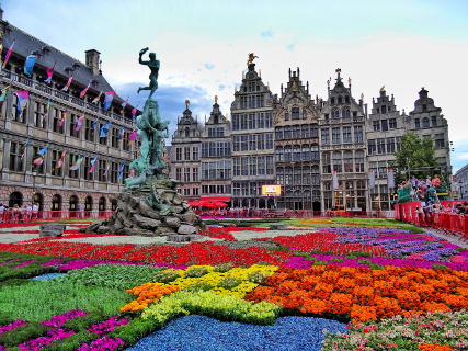 bloementapijt fleurt Antwerpse Grote Markt op!